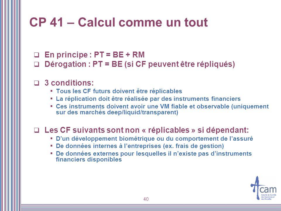 40 CP 41 – Calcul comme un tout En principe : PT = BE + RM Dérogation : PT = BE (si CF peuvent être répliqués) 3 conditions: Tous les CF futurs doiven