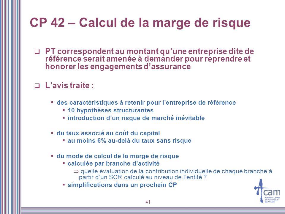 41 CP 42 – Calcul de la marge de risque PT correspondent au montant quune entreprise dite de référence serait amenée à demander pour reprendre et hono