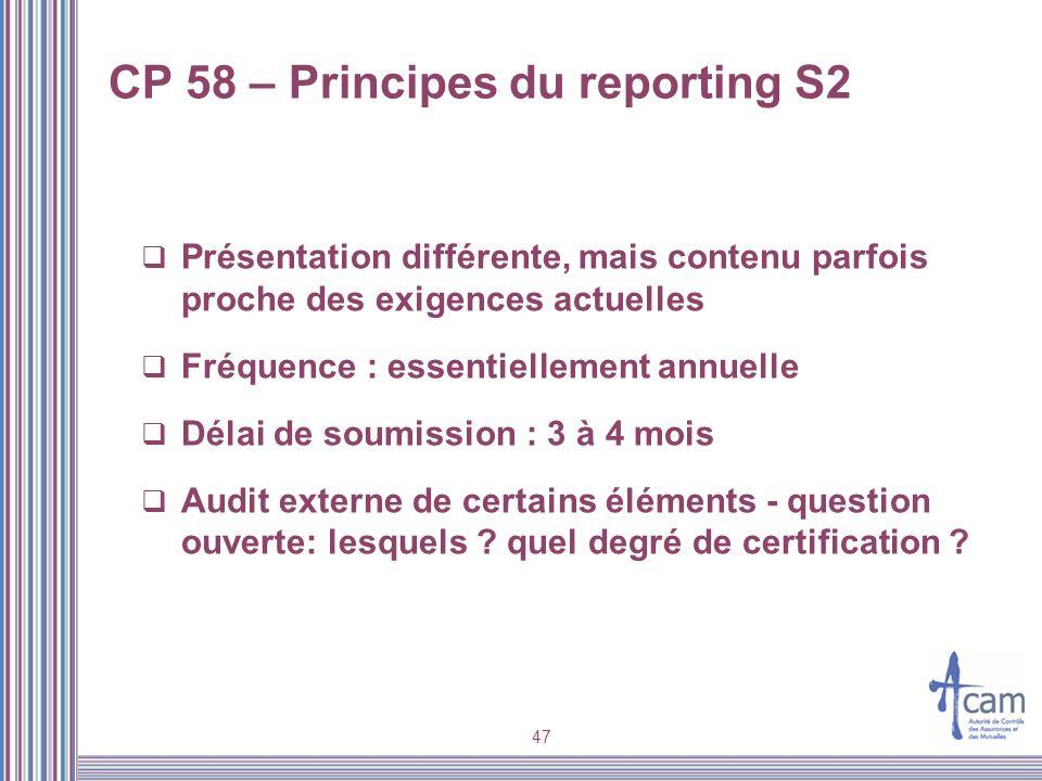 CP 58 – Principes du reporting S2 Présentation différente, mais contenu parfois proche des exigences actuelles Fréquence : essentiellement annuelle Dé