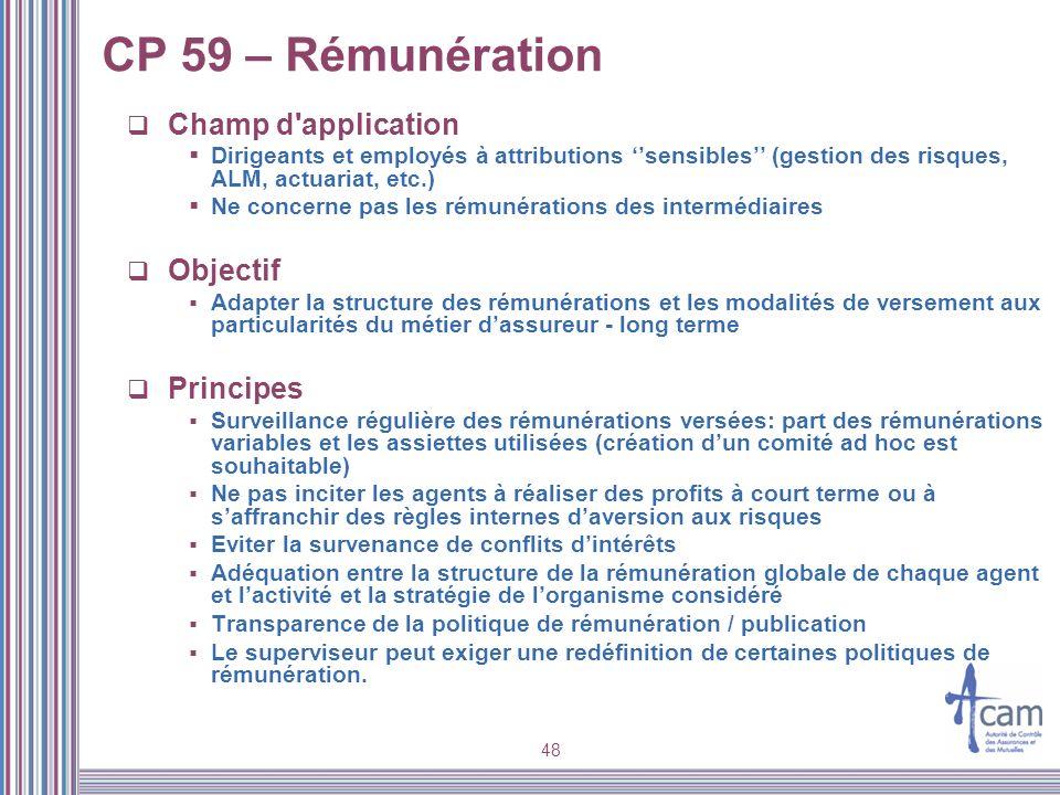 48 CP 59 – Rémunération Champ d'application Dirigeants et employés à attributions sensibles (gestion des risques, ALM, actuariat, etc.) Ne concerne pa