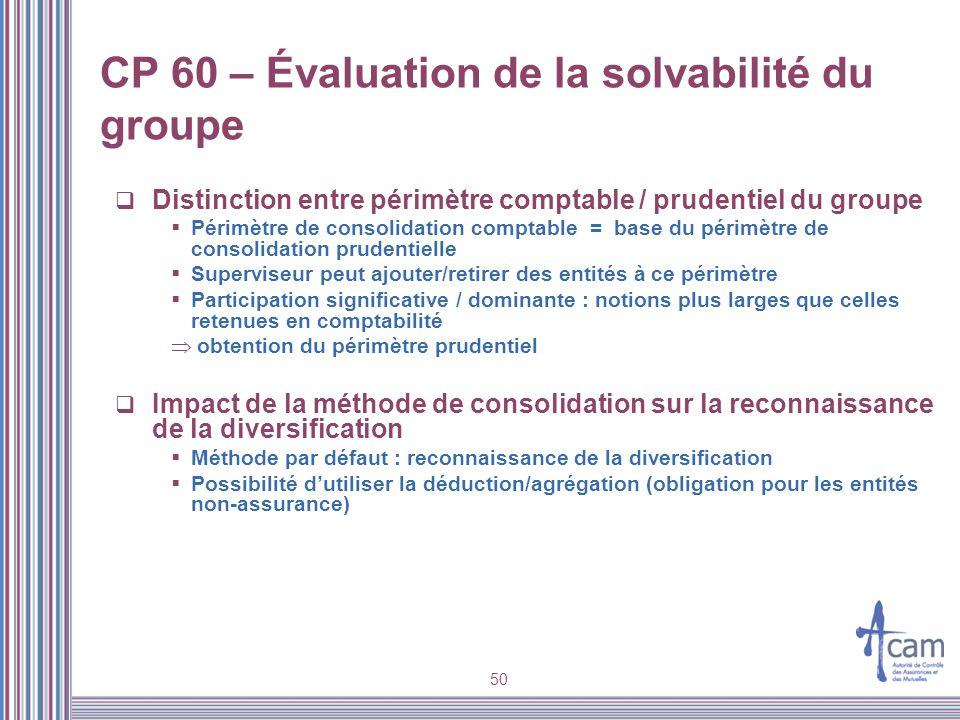 50 CP 60 – Évaluation de la solvabilité du groupe Distinction entre périmètre comptable / prudentiel du groupe Périmètre de consolidation comptable =