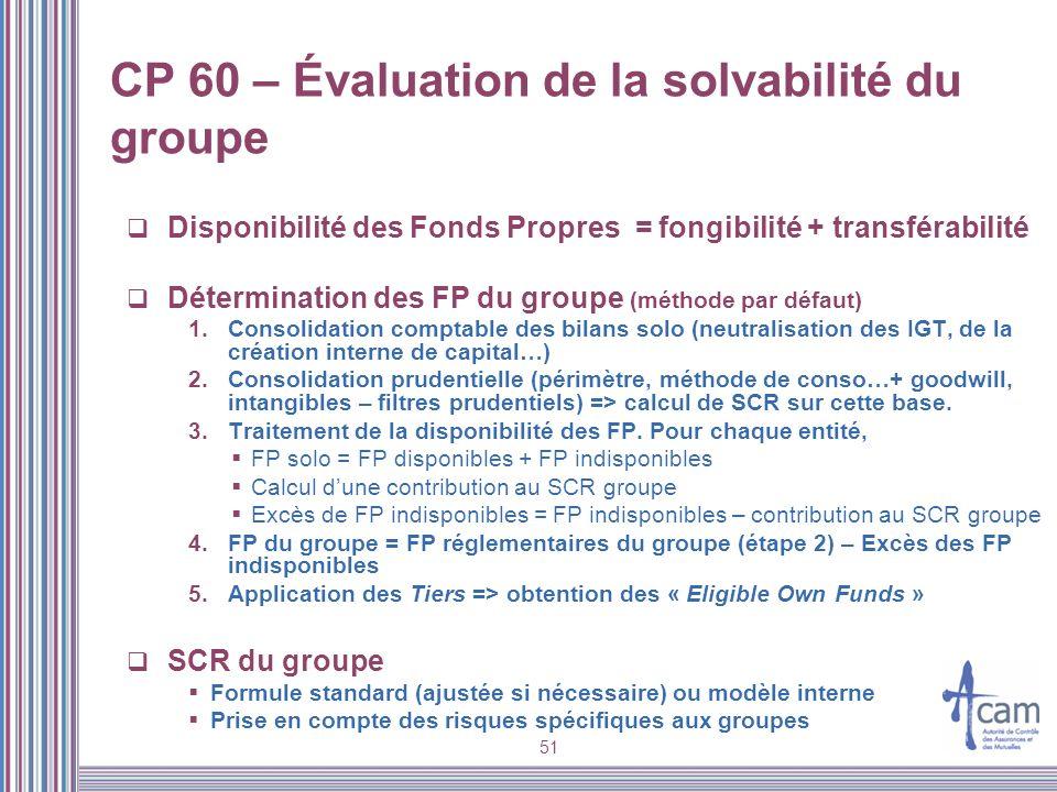 51 CP 60 – Évaluation de la solvabilité du groupe Disponibilité des Fonds Propres = fongibilité + transférabilité Détermination des FP du groupe (méth