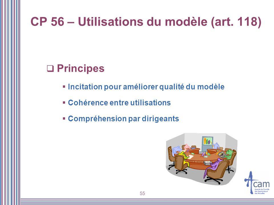 55 CP 56 – Utilisations du modèle (art. 118) Principes Incitation pour améliorer qualité du modèle Cohérence entre utilisations Compréhension par diri