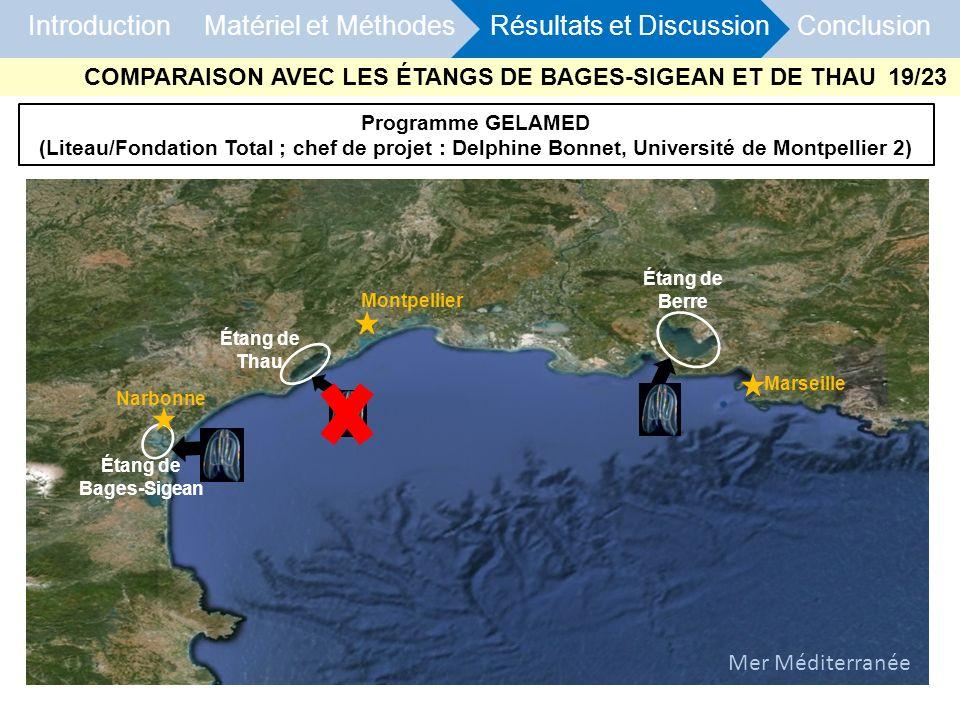 Introduction Matériel et Méthodes Résultats et Discussion Conclusion Programme GELAMED (Liteau/Fondation Total ; chef de projet : Delphine Bonnet, Uni