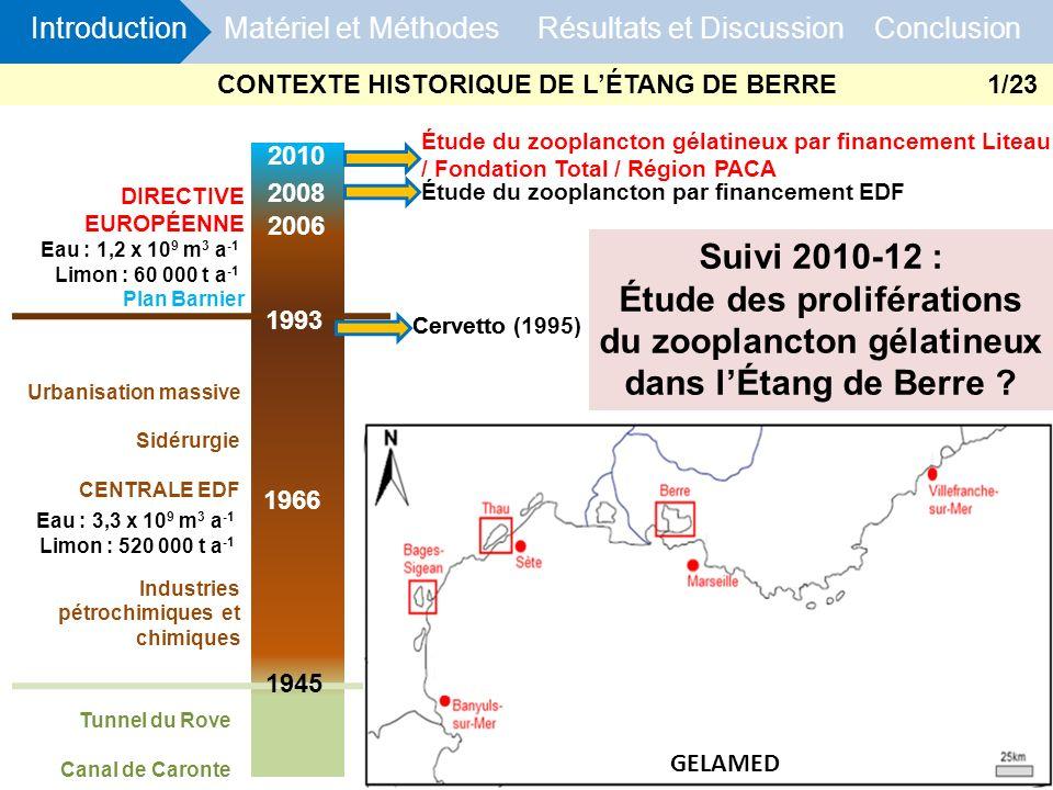 DIRECTIVE EUROPÉENNE Plan Barnier 2006 1970 1966 Tunnel du Rove Canal de Caronte 1993 1945 2010 Étude du zooplancton gélatineux par financement Liteau