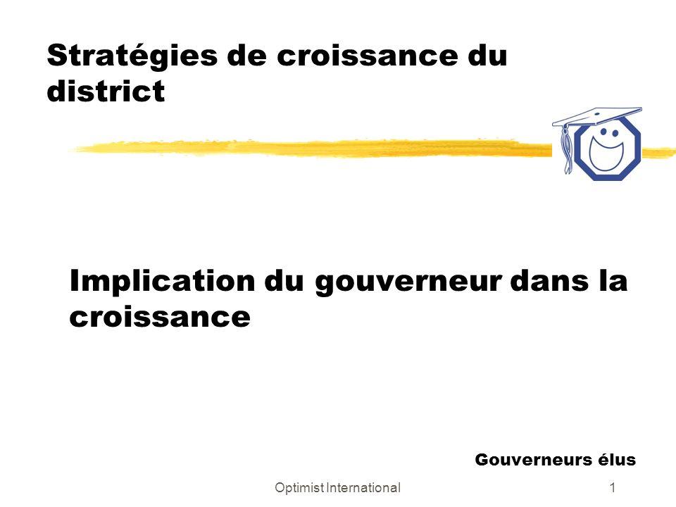 Optimist International1 Stratégies de croissance du district Implication du gouverneur dans la croissance Gouverneurs élus