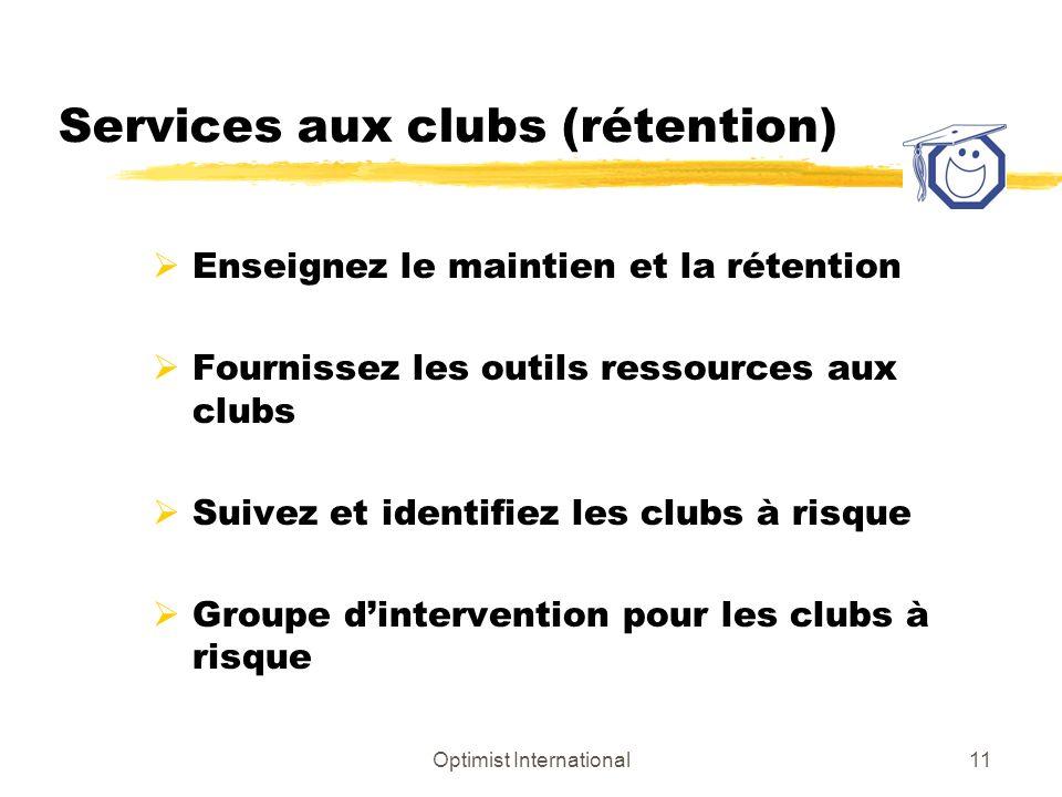 Optimist International11 Services aux clubs (rétention) Enseignez le maintien et la rétention Fournissez les outils ressources aux clubs Suivez et identifiez les clubs à risque Groupe dintervention pour les clubs à risque