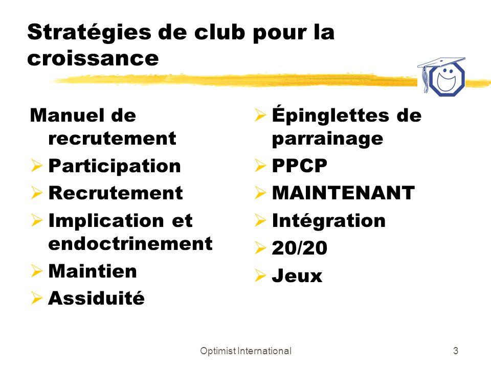 Optimist International4 Stratégies de croissance du district Fondation de nouveaux clubs Plus grand impact + ou – 10% Effectif (recrutement) Stratégies informatiques + ou – 5% Services aux clubs (rétention) Fastidieux + ou – 2%