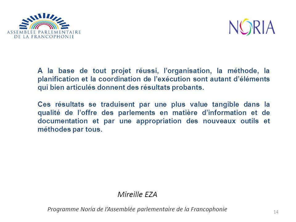 Mireille EZA Programme Noria de lAssemblée parlementaire de la Francophonie A la base de tout projet réussi, lorganisation, la méthode, la planification et la coordination de lexécution sont autant déléments qui bien articulés donnent des résultats probants.