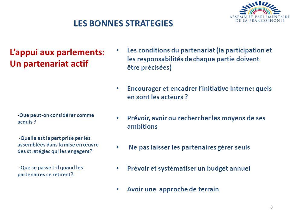 Lappui aux parlements: Un partenariat actif Les conditions du partenariat (la participation et les responsabilités de chaque partie doivent être précisées) Encourager et encadrer linitiative interne: quels en sont les acteurs .