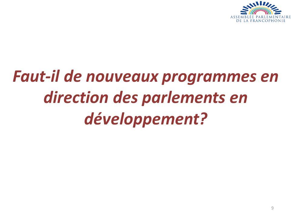 Faut-il de nouveaux programmes en direction des parlements en développement 9