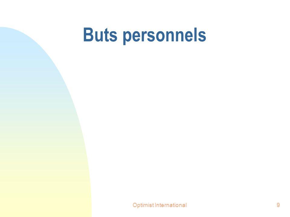Optimist International9 Buts personnels