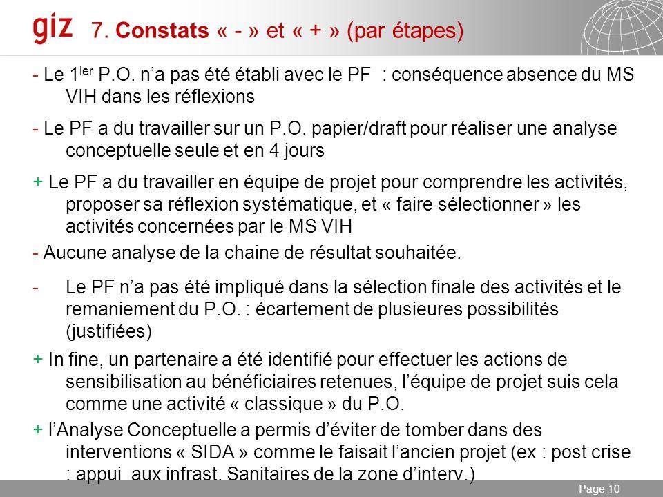 03.01.2014 Seite 10 Page 10 7. Constats « - » et « + » (par étapes) - Le 1 ier P.O.