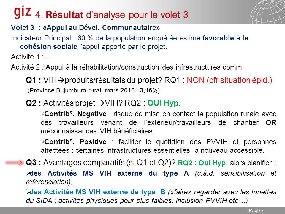 03.01.2014 Seite 7 Page 7 4. Résultat danalyse pour le volet 3 Volet 3 : «Appui au Dével.