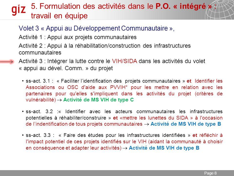 03.01.2014 Seite 8 Page 8 5. Formulation des activités dans le P.O.