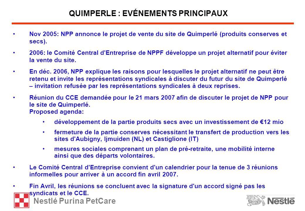 Nestlé Purina PetCare Nov 2005: NPP annonce le projet de vente du site de Quimperlé (produits conserves et secs). 2006: le Comité Central d'Entreprise