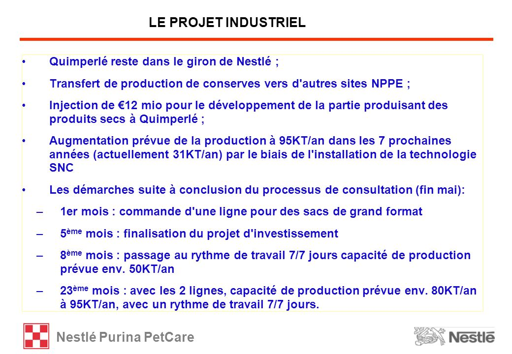 Nestlé Purina PetCare Quimperlé reste dans le giron de Nestlé ; Transfert de production de conserves vers d'autres sites NPPE ; Injection de 12 mio po