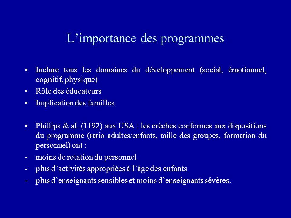 Limportance des programmes Inclure tous les domaines du développement (social, émotionnel, cognitif, physique) Rôle des éducateurs Implication des fam