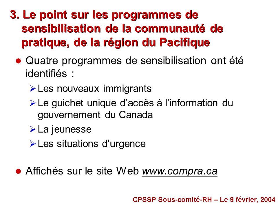 3. Le point sur les programmes de sensibilisation de la communauté de pratique, de la région du Pacifique l Quatre programmes de sensibilisation ont é