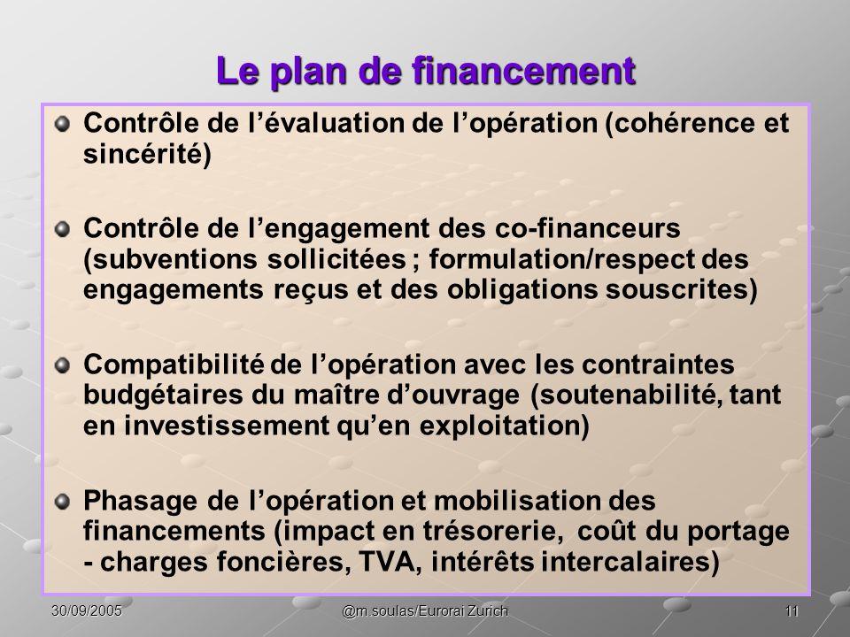 1130/09/2005@m.soulas/Eurorai Zurich Le plan de financement Contrôle de lévaluation de lopération (cohérence et sincérité) Contrôle de lengagement des