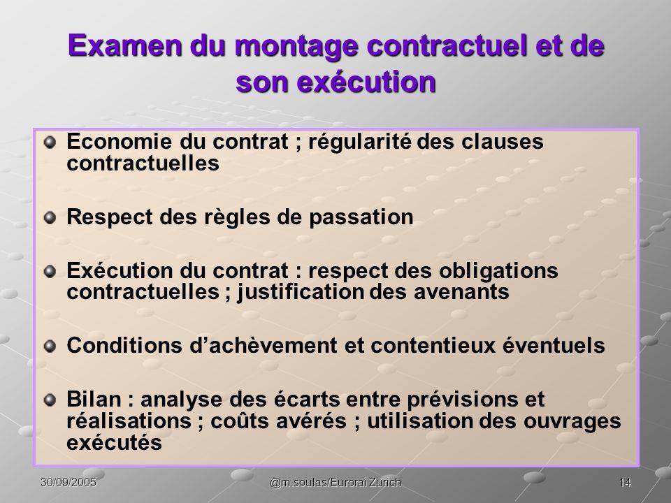1430/09/2005@m.soulas/Eurorai Zurich Examen du montage contractuel et de son exécution Economie du contrat ; régularité des clauses contractuelles Res