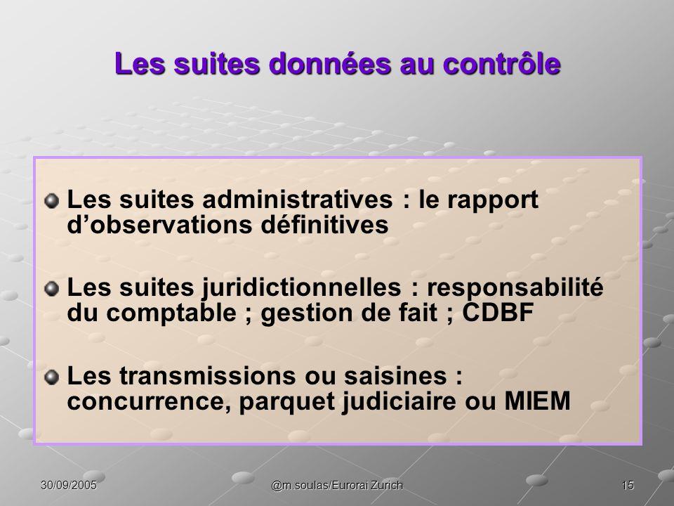 1530/09/2005@m.soulas/Eurorai Zurich Les suites données au contrôle Les suites administratives : le rapport dobservations définitives Les suites jurid