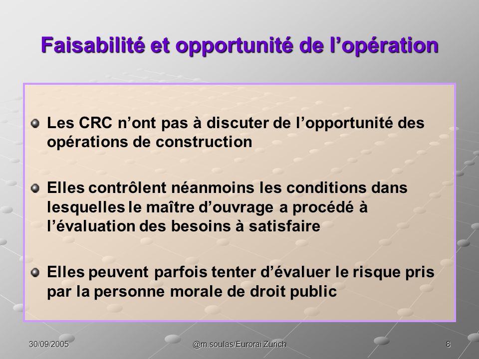 830/09/2005@m.soulas/Eurorai Zurich Faisabilité et opportunité de lopération Les CRC nont pas à discuter de lopportunité des opérations de constructio