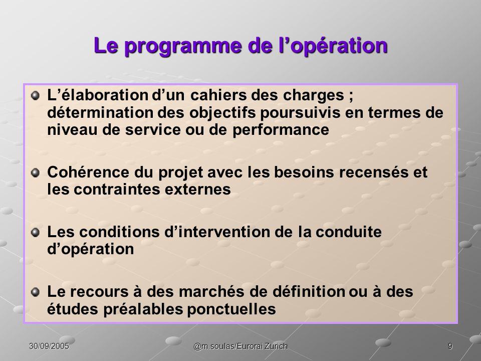 930/09/2005@m.soulas/Eurorai Zurich Le programme de lopération Lélaboration dun cahiers des charges ; détermination des objectifs poursuivis en termes