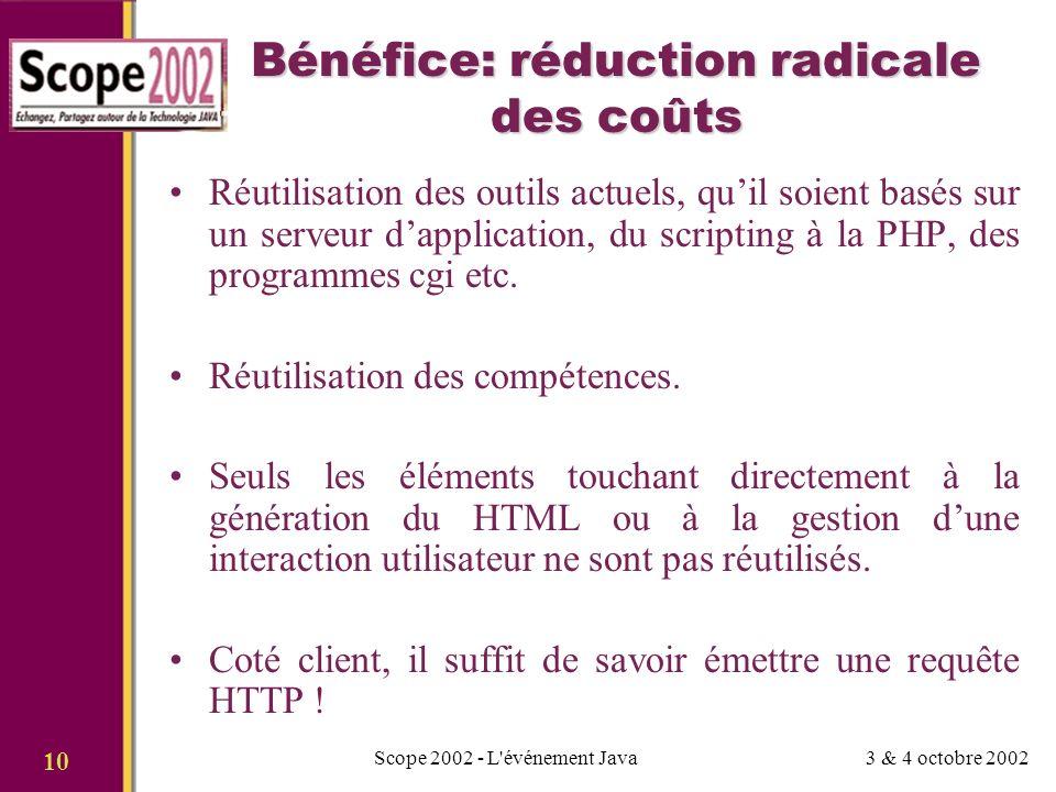 3 & 4 octobre 2002Scope 2002 - L événement Java 10 Bénéfice: réduction radicale des coûts Réutilisation des outils actuels, quil soient basés sur un serveur dapplication, du scripting à la PHP, des programmes cgi etc.