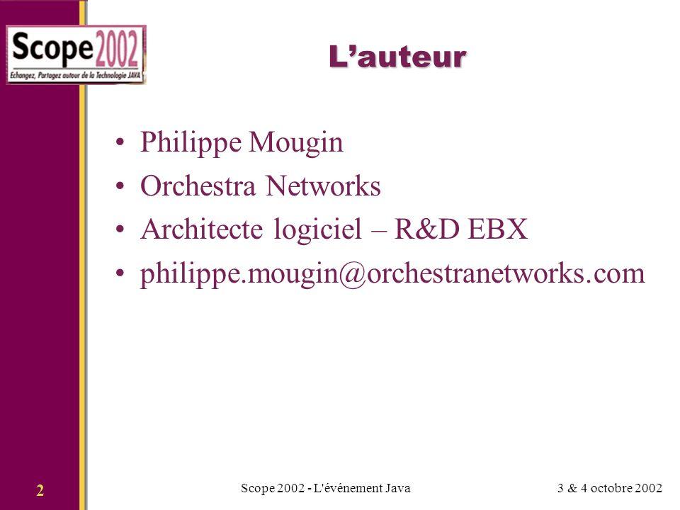 3 & 4 octobre 2002Scope 2002 - L événement Java 3 Sommaire Les services web: originalité et bénéfices La seconde vague Orchestration Interactivité Adaptation Administration