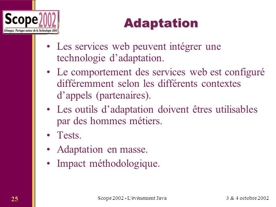 3 & 4 octobre 2002Scope 2002 - L événement Java 25 Adaptation Les services web peuvent intégrer une technologie dadaptation.