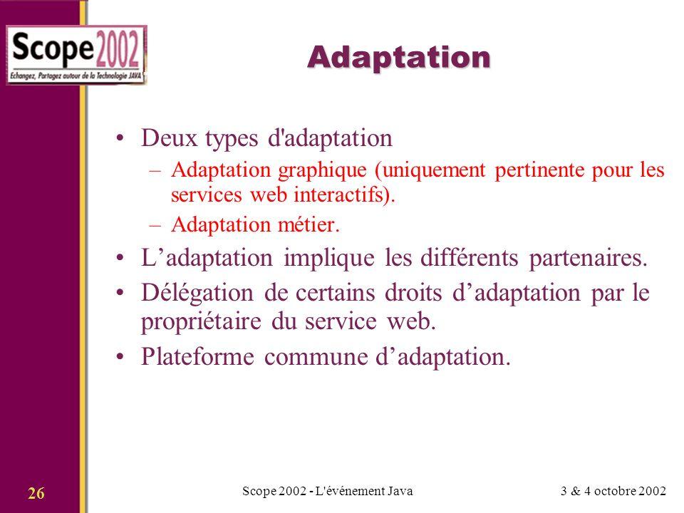 3 & 4 octobre 2002Scope 2002 - L événement Java 26 Adaptation Deux types d adaptation –Adaptation graphique (uniquement pertinente pour les services web interactifs).