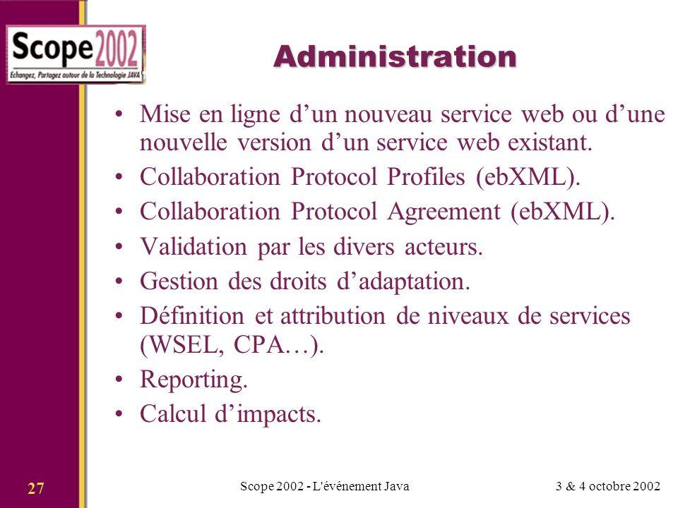 3 & 4 octobre 2002Scope 2002 - L événement Java 27 Administration Mise en ligne dun nouveau service web ou dune nouvelle version dun service web existant.