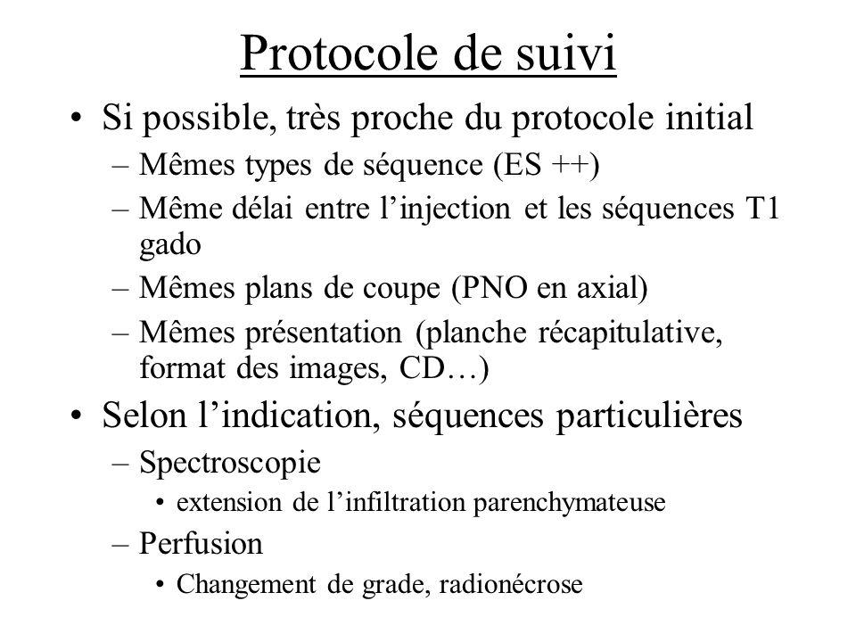 Protocole de suivi Si possible, très proche du protocole initial –Mêmes types de séquence (ES ++) –Même délai entre linjection et les séquences T1 gad