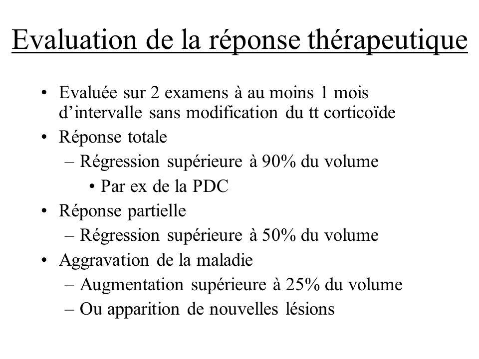 Evaluation de la réponse thérapeutique Evaluée sur 2 examens à au moins 1 mois dintervalle sans modification du tt corticoïde Réponse totale –Régressi