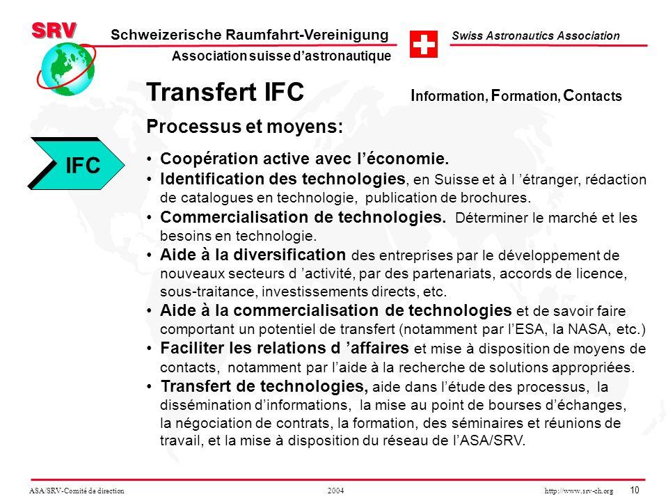ASA/SRV-Comité de direction 2004 http://www.srv-ch.org 10 Schweizerische Raumfahrt-Vereinigung Swiss Astronautics Association Transfert IFC I nformati