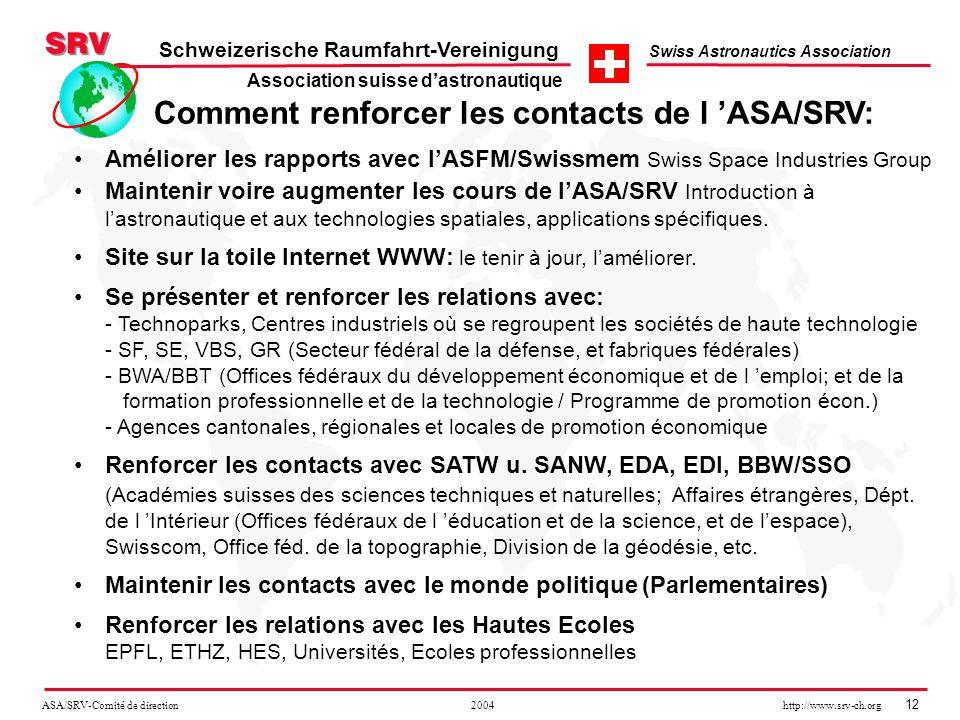 ASA/SRV-Comité de direction 2004 http://www.srv-ch.org 12 Schweizerische Raumfahrt-Vereinigung Swiss Astronautics Association Comment renforcer les co