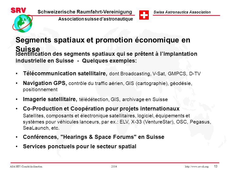 ASA/SRV-Comité de direction 2004 http://www.srv-ch.org 13 Schweizerische Raumfahrt-Vereinigung Swiss Astronautics Association Segments spatiaux et pro