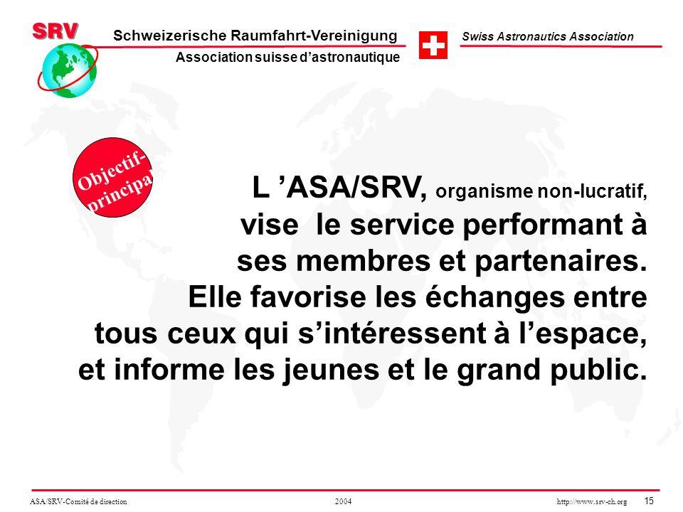 ASA/SRV-Comité de direction 2004 http://www.srv-ch.org 15 Schweizerische Raumfahrt-Vereinigung Swiss Astronautics Association L ASA/SRV, organisme non