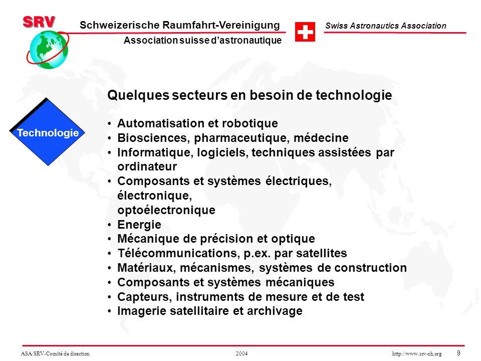 ASA/SRV-Comité de direction 2004 http://www.srv-ch.org 9 Schweizerische Raumfahrt-Vereinigung Swiss Astronautics Association Quelques secteurs en beso