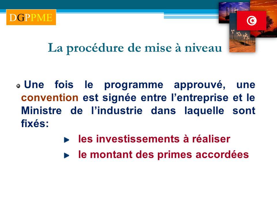 La procédure de mise à niveau Une fois le programme approuvé, une convention est signée entre lentreprise et le Ministre de lindustrie dans laquelle s