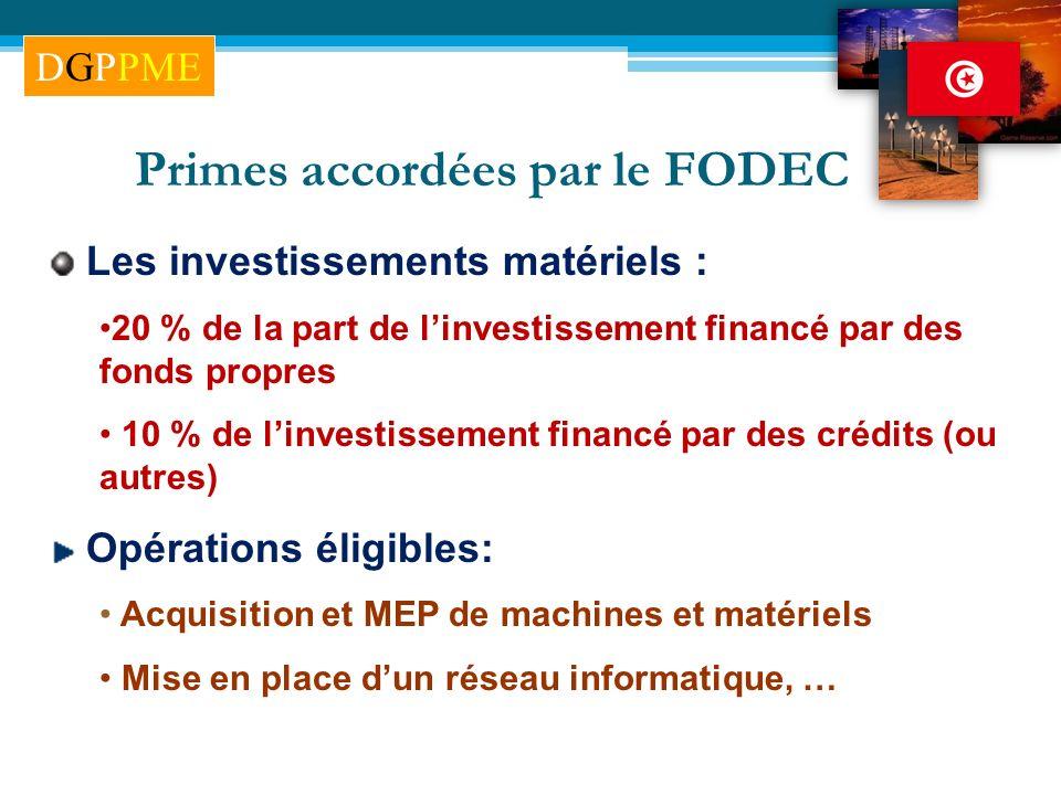Les investissements matériels : 20 % de la part de linvestissement financé par des fonds propres 10 % de linvestissement financé par des crédits (ou a