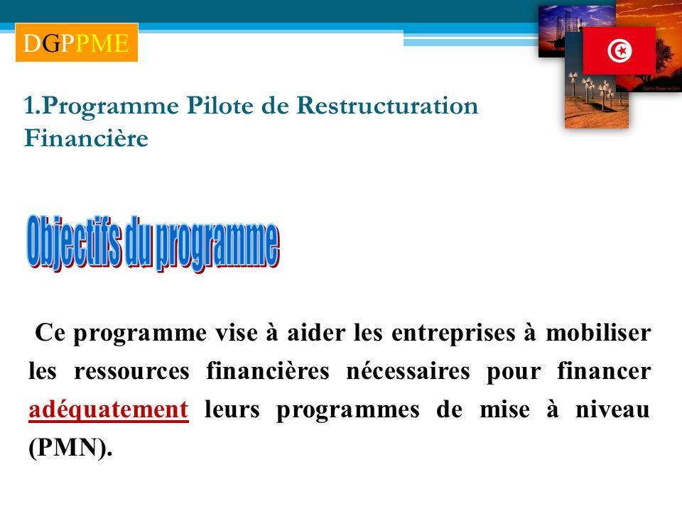 1.Programme Pilote de Restructuration Financière Ce programme vise à aider les entreprises à mobiliser les ressources financières nécessaires pour fin