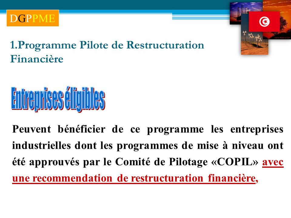 Peuvent bénéficier de ce programme les entreprises industrielles dont les programmes de mise à niveau ont été approuvés par le Comité de Pilotage «COP