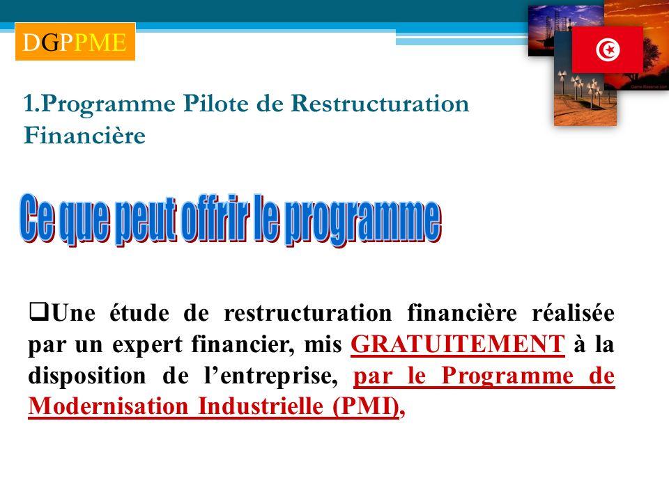 Une étude de restructuration financière réalisée par un expert financier, mis GRATUITEMENT à la disposition de lentreprise, par le Programme de Modern