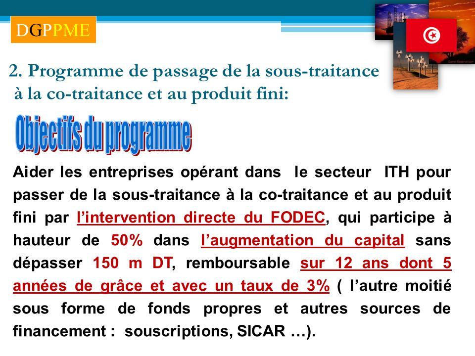 2. Programme de passage de la sous-traitance à la co-traitance et au produit fini: Aider les entreprises opérant dans le secteur ITH pour passer de la