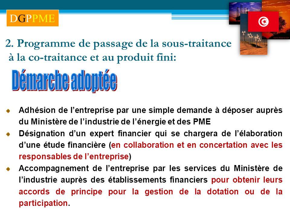 2. Programme de passage de la sous-traitance à la co-traitance et au produit fini: Adhésion de lentreprise par une simple demande à déposer auprès du