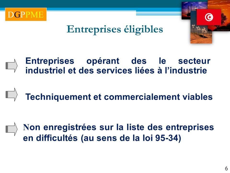 6 Entreprises éligibles Entreprises opérant des le secteur industriel et des services liées à lindustrie N on enregistrées sur la liste des entreprise