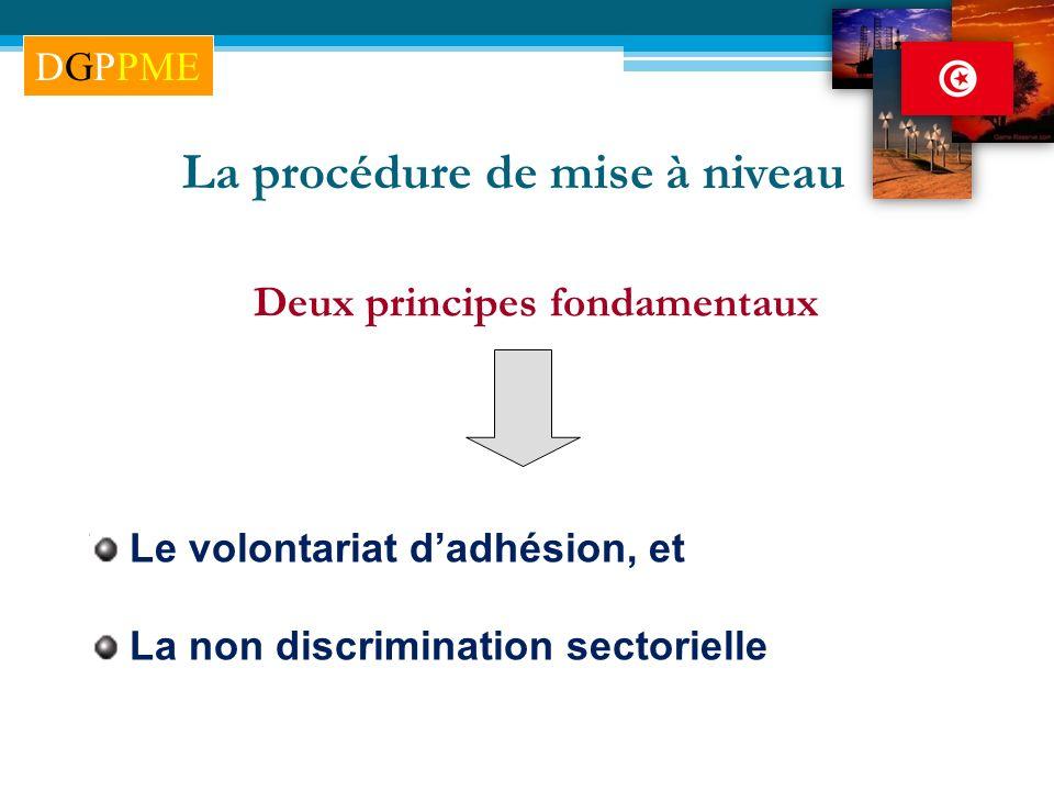 La procédure de mise à niveau Deux principes fondamentaux Le volontariat dadhésion, et La non discrimination sectorielle DGPPME