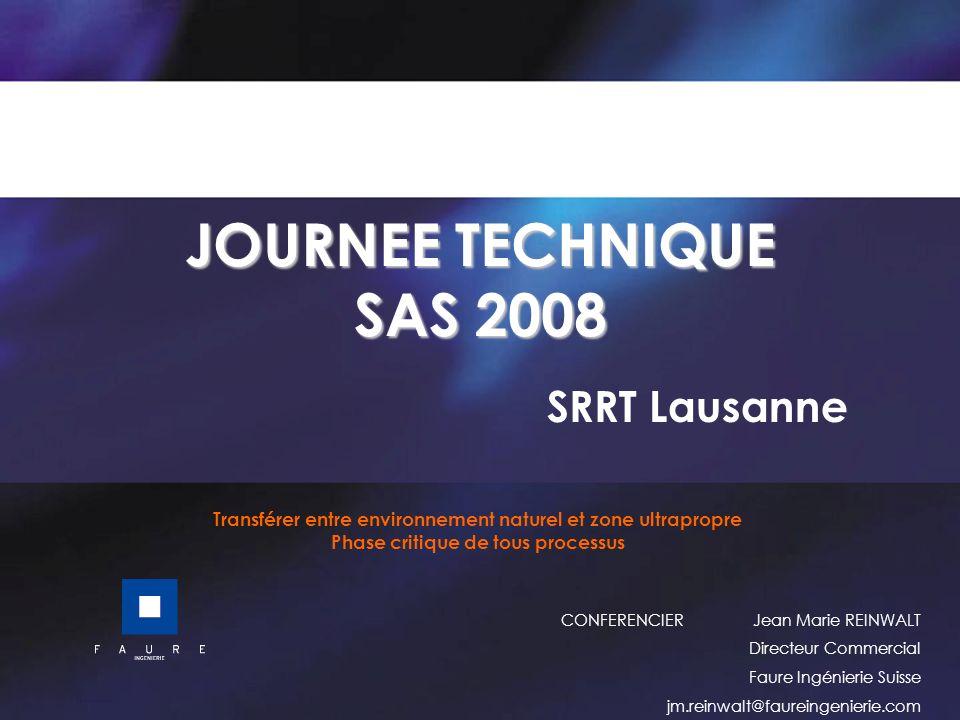 JOURNEE TECHNIQUE SAS 2008 SRRT Lausanne Transférer entre environnement naturel et zone ultrapropre Phase critique de tous processus CONFERENCIER Jean